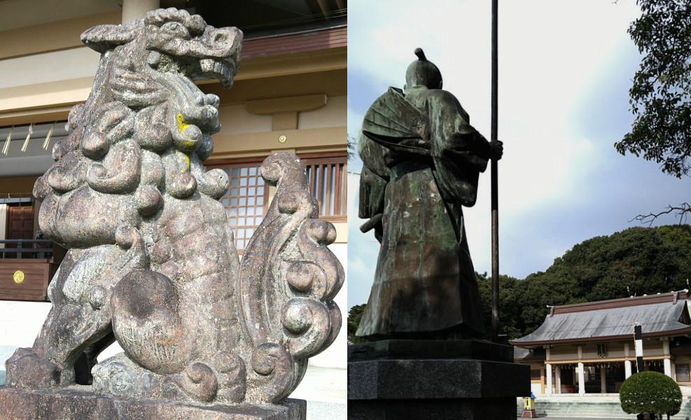 狛犬と太兵衛の像