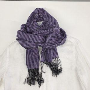 「久留米絣ストール」絣よろけストライプ紫黒ネップ(ks-28)2