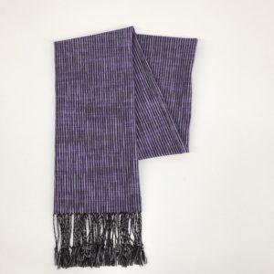 「久留米絣ストール」絣よろけストライプ紫黒ネップ(ks-28)3