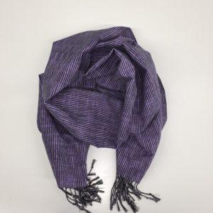 「久留米絣ストール」絣よろけストライプ紫黒ネップ(ks-28)1