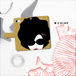 『アフロ!(グリッター風)』 スマホケース 手帳型 3